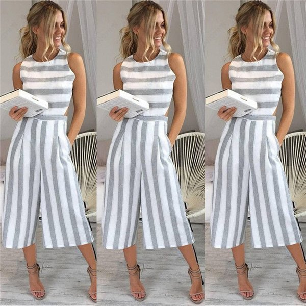 Fashion Style Loose Romper Women Jumpsuits Casual Striped Summer Playsuit Sexy Sleeveless Overalls Streetwear Suspender Trousers