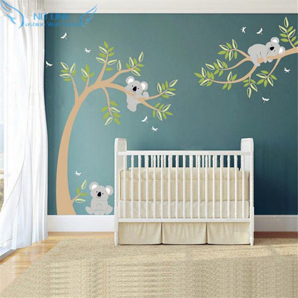 Koala E Filial Adesivo De Parede Árvore Koala Decalque Da Parede Com Libélulas Urso Decalque para o Berçário Do Bebê, Crianças, Sala de Crianças