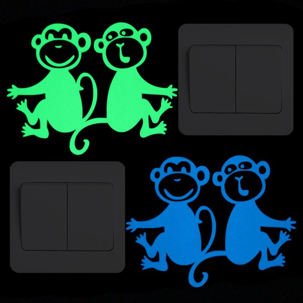 Encantador mono de dibujos animados encantador interruptor decoración pegatina resplandor en la pared oscura decoración pegatina niño habitación cama armario portátil diy calcomanía