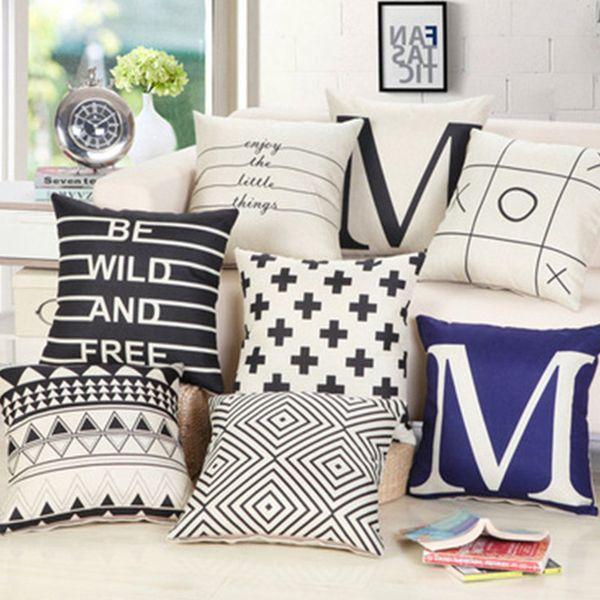 BZ011 iç siyah ve beyaz olmadan Dekoratif geometrik yastıklar dekoratif yastıklar atmak sandalye koltuk ev dekor ev tekstili hediye