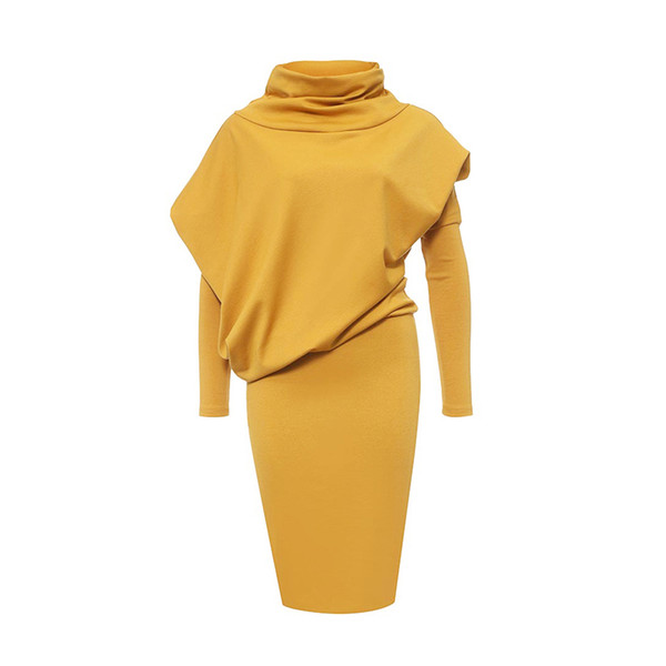 Hot sale bodycon dress women long Sleeve turtleneck office dress plus size sheath Pulloverpatchwork yellow 2018 bandage