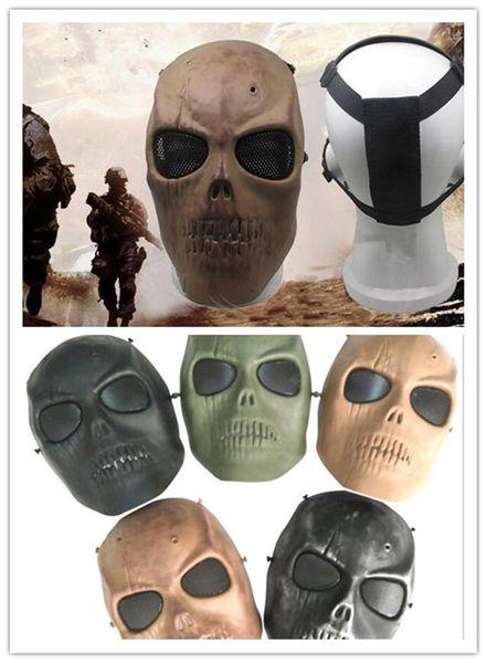 hombres del Ejército de Malla Cara Completa Máscara Skull Skeleton Airsoft Paintball BB Gun Juego Proteger Máscara de Seguridad G309