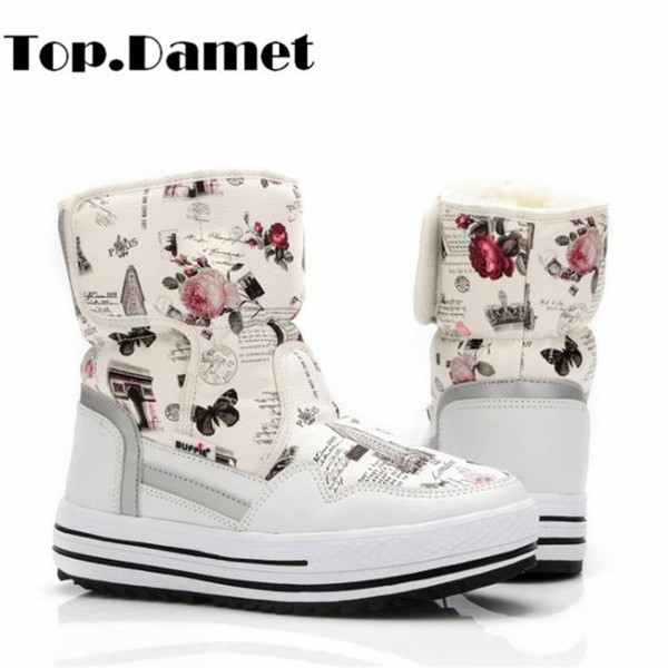 Top.Damet Snow Boots Women Winter Warm Plush Genuine Leather Short Boots Casual Platform Hook Loop Ankle Outdoor Female