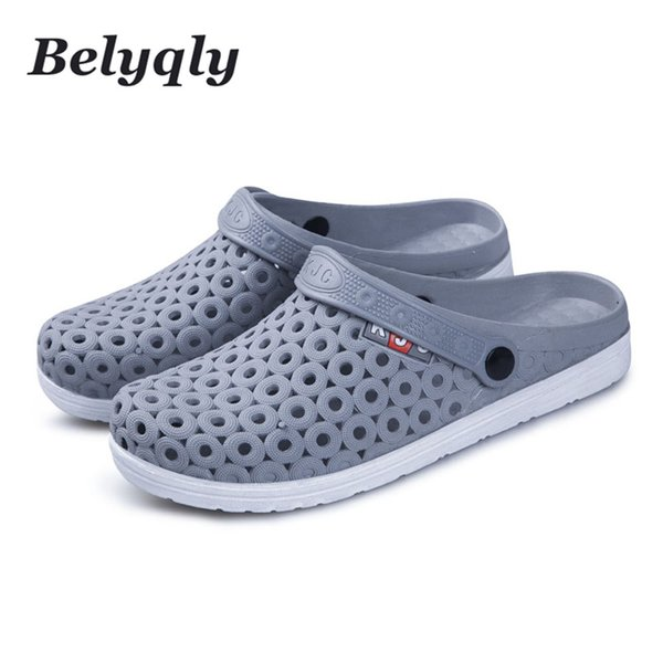 6913871d6d5a Belyqly Men Sandals Waliking Shoes Casual Beach Men s Hole Slippers Plastic  Buckle Strap Man Shoes Size40-44