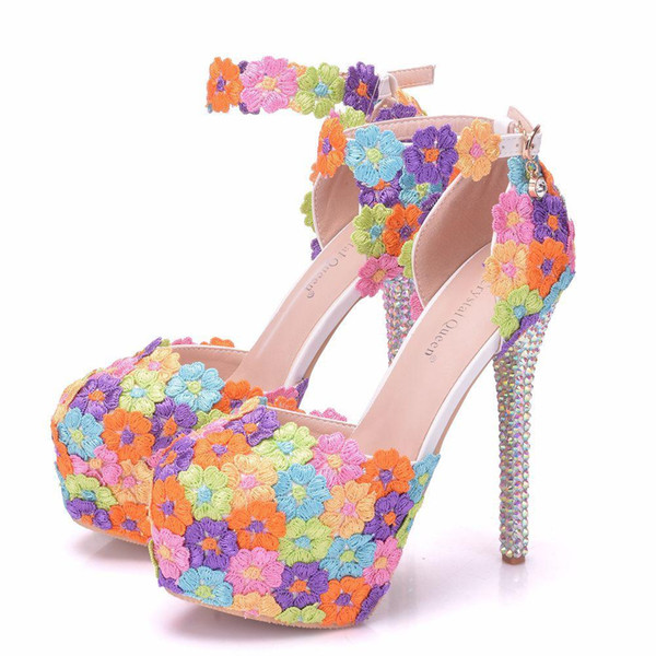New handmade beautiful Round toe shoes for women Multi Flowers high heel wedding shoes crystal thin heels Plus Size 41 bride Shoes