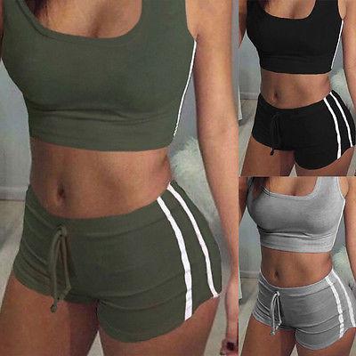 top popular GLANE Yoga 2pcs Women Belt Suit Set Padded Bra Sleeveless Tops+Belt Shorts Fitness Running Yoga Gym Sports 2019