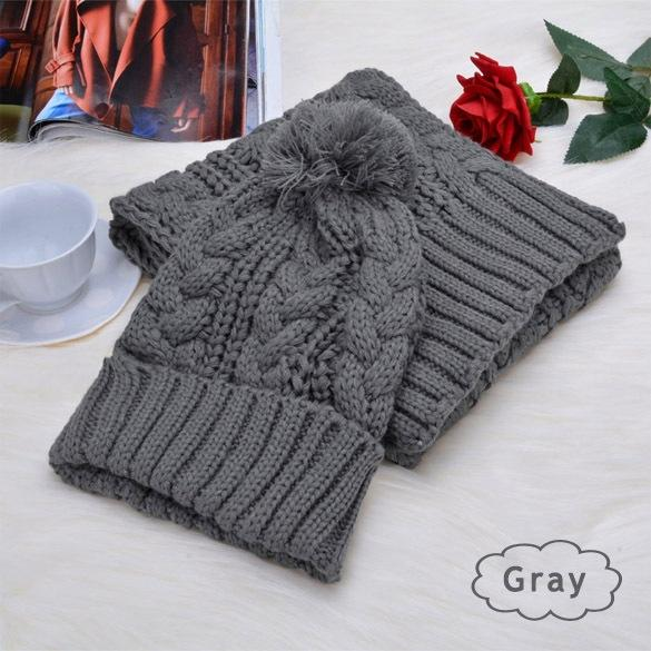 Fashion Hat Hats for Women Beanies Knitted Scarf and Hat Set Cuffed White Winter Cap Bonnet Femme Neck Warmer Beanie 2017