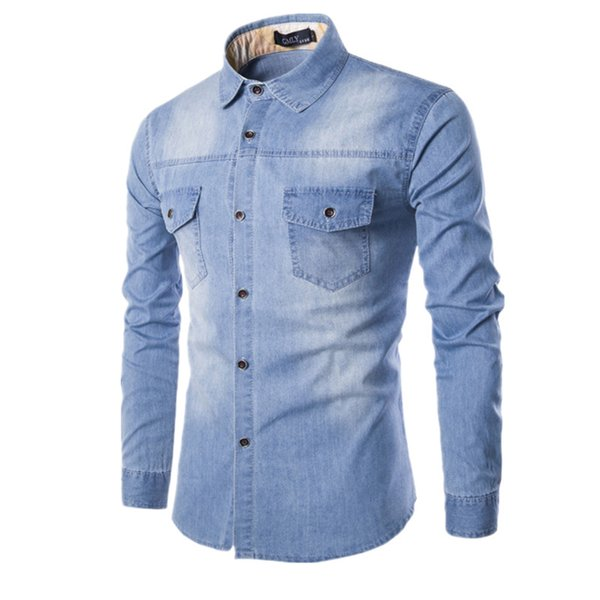 Yüksek kaliteli erkek Ince denim gömlek yeni artı boyutu M-6XL moda rahat yıkama mavi uzun kollu Kargo kot gömlek Chemise Homme