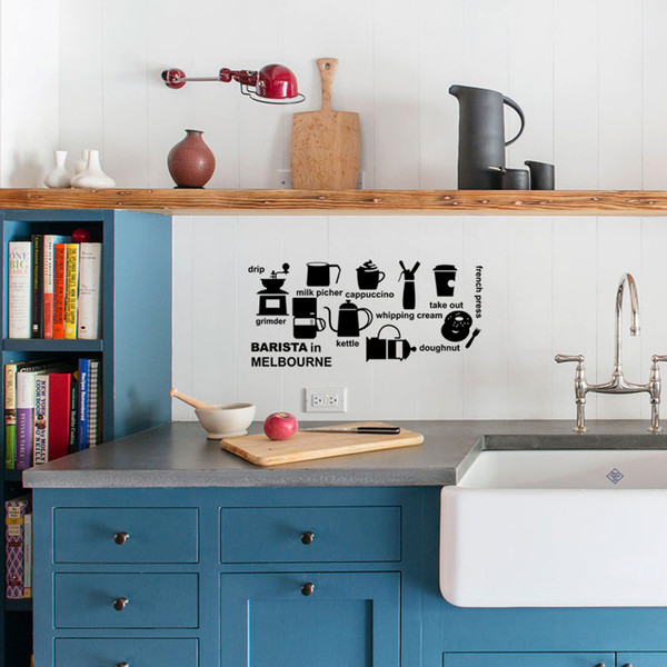 Romantic Barista In Melbourne Vinyl Wall Stickers Bedroom Quotes Decals Kitchen Accessories Home Decoration Wall Art Decor
