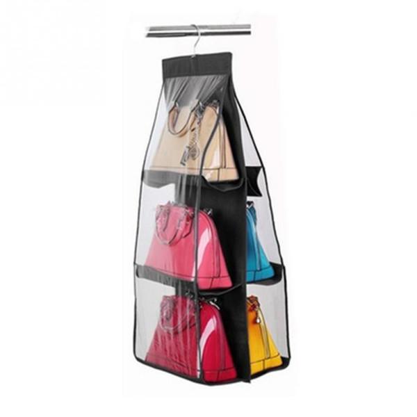 Dual Side 6 Pockets Hanging Storage Bag Purse Handbag Tote Bag Storage Organizer Closet Rack Hangers