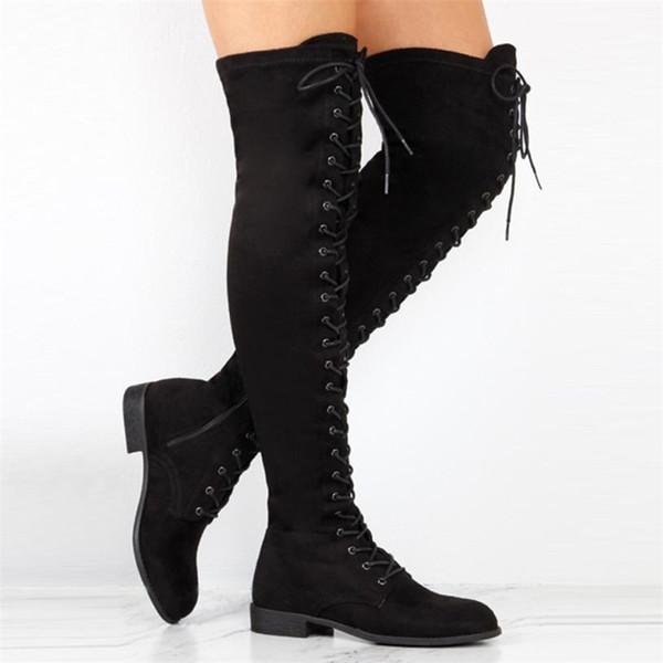 Compre Plataforma Cruzada De Mujer Botas Altas Sobre La Rodilla Botas De Tacón Plano Zapatos De Cremallera De Invierno Mujer Botas Australia Mujer A