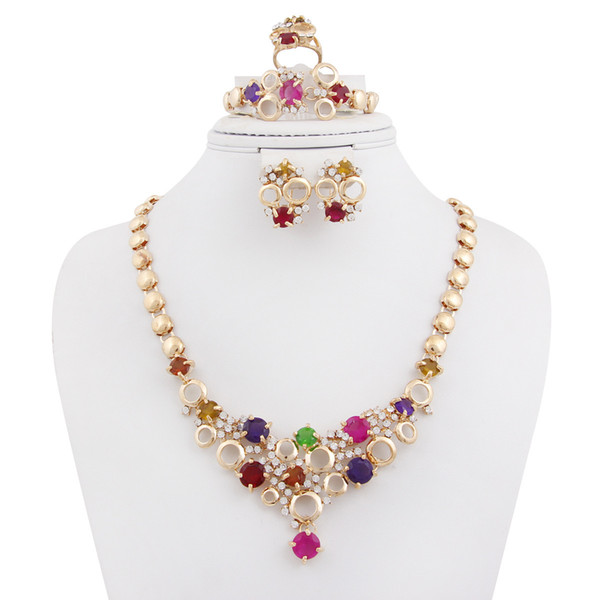 Necklace Earrings Ring Bracelet Dee Call On Wedding Jewelry Suit Fashion Imitate Crystal Zircon Jewelry Suit 1059