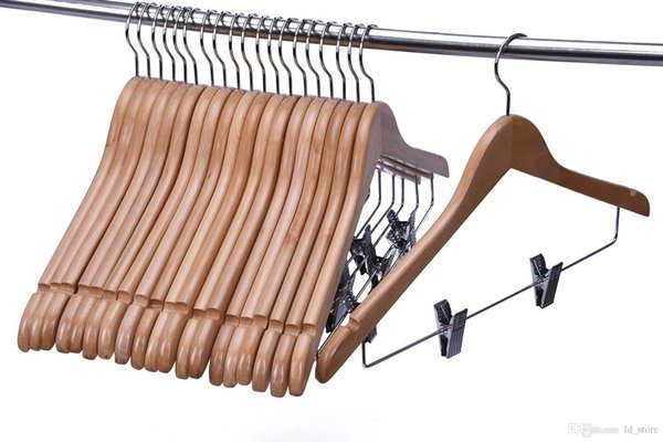 2019 Wooden Pant Hanger Wooden Suit Hangers With Steel Clips And Hooks Natural Wood Collection Skirt Hangers Standard Clothes Hangers From