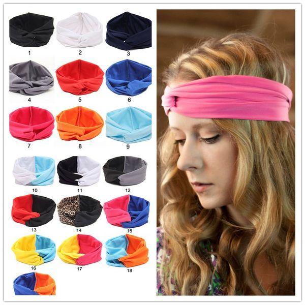 Women Girls Bohemia Headband Head Wrap Ear Warm Hairband Patchwork Color Cross Hair Band Hair Accessories Fashion Elastic Headwrap