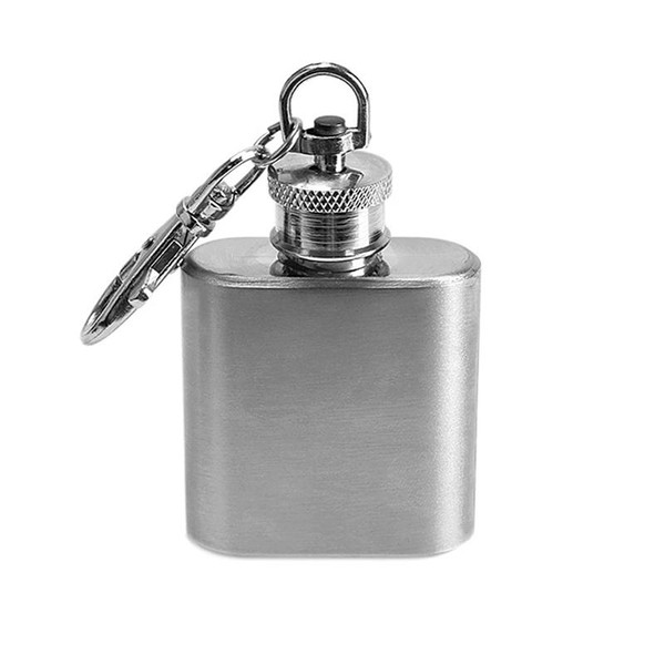 Portable 1oz Mini Stainless Steel flask Hip Flask for alcohol Flagon with Keychain Whiskey Wine Bottle flasque alcool For Gifts