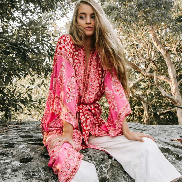 BOHO INSPIRED Summer 3/4 Sleeve Floral Printed maxi Kimono Cardigan Blusas rayon Loose women's shirts blouse 2018 beach clothes