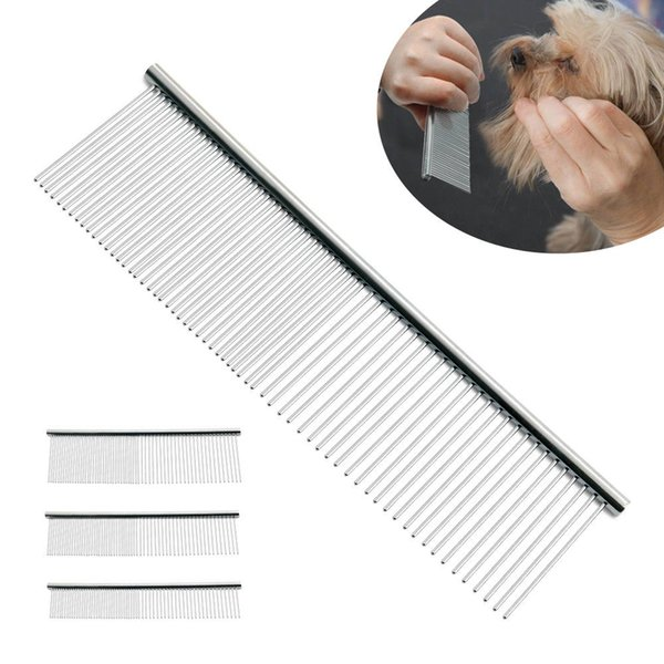 S/M/L Pet Double Row Comb Stainless SteelLice Rake For Puppy Dog Cat Long Hair Shedding Grooming Brush 50pcs AAA958