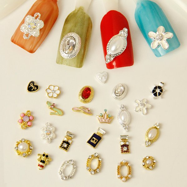 Nail jewelry wholesale diy accessories pearl diamond bow nail polish glue phototherapy silver hollow patch 10pcs/lot
