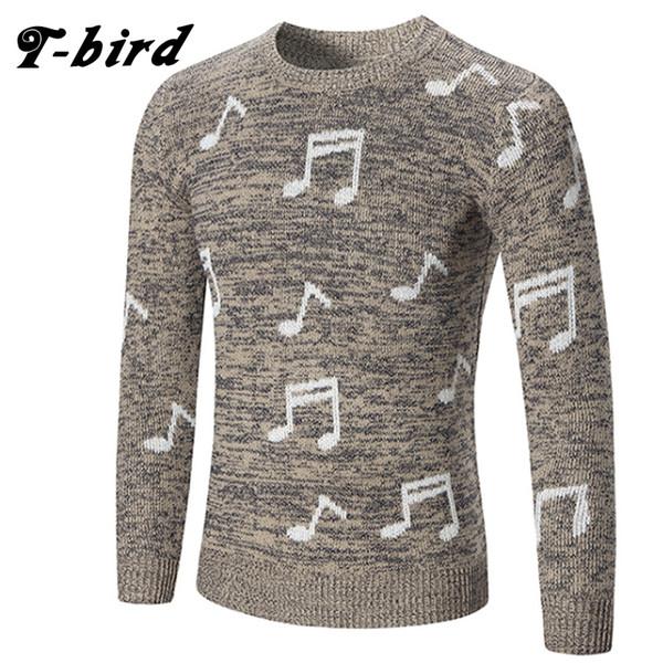 T-bird 2017 marca de moda clothing homens note impressão camisola simples o-pescoço slim fit pullover casual homens blusas de tricô homens