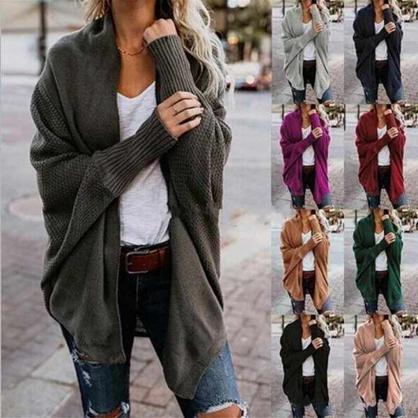 Autumn Winter Scarf Collar Knitted Sweaters Fashion 2018 Women Solid 9 Colors Long Sleeve Loose Female Cardigans