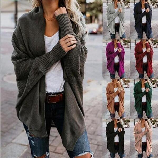 Sonbahar Kış Eşarp Yaka Örme Kazak Moda 2018 Kadınlar Katı 9 Renkler Uzun Kollu Gevşek Kadın Hırka