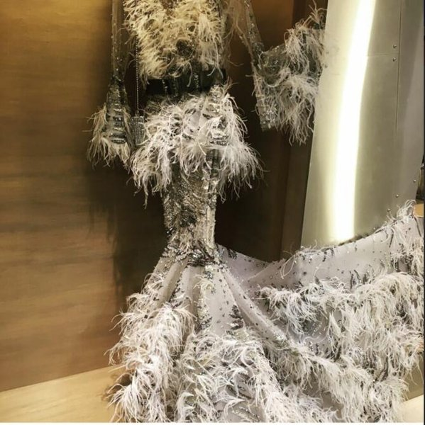 Evening Dress Ziad naked Long Dress Long Sleeve Beaded Crystal Feather Sashes Mermaid Beautiful Fashion Suitable for all shapes 0014