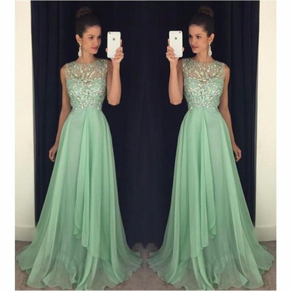 2018 Sparkly Mint Green Vestidos de fiesta largos Chiffon A Line Vestidos de noche formales para graduación vestido de festa gala formatura