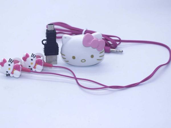 Alta Qualidade Mini Olá Kitty MP3 Player de Música Clipe MP3 Players Suporte TF Cartão Com Fone De Ouvido Mini Saco USB meninos meninas presente