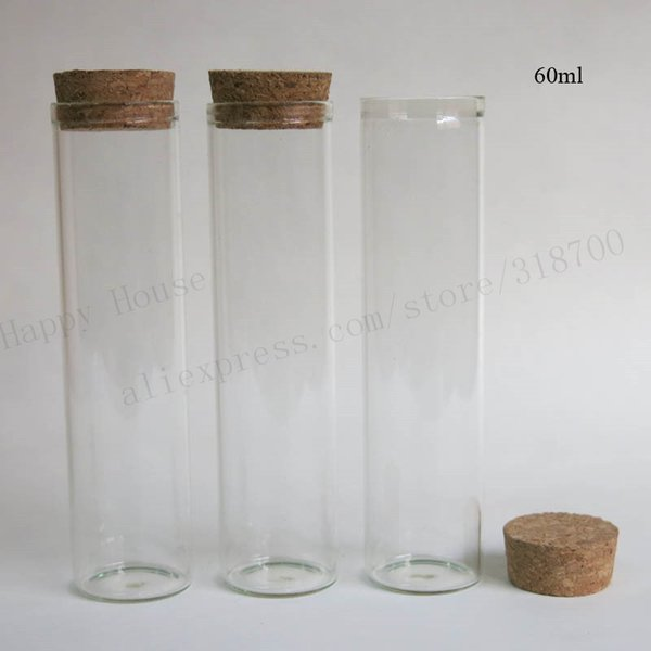 Wholesale-20 X 60ml clear glass tube with wood cork, 2 oz cork stoppered tube,empty glass bottle cork stopper tube
