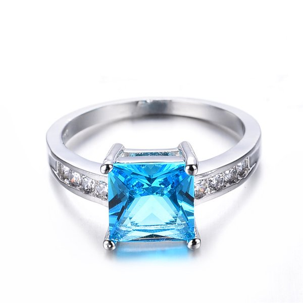 Female Light Blue Geometric Ring New Fashion White Gold Filled Jewelry Vintage Wedding Rings For Women Birth Stone Gifts