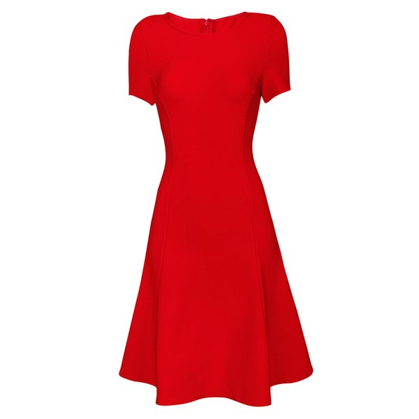 Sell inventory at low prices classic fashion Bandage dress Red round neck flare skirt short sleeve prom dress evening dress