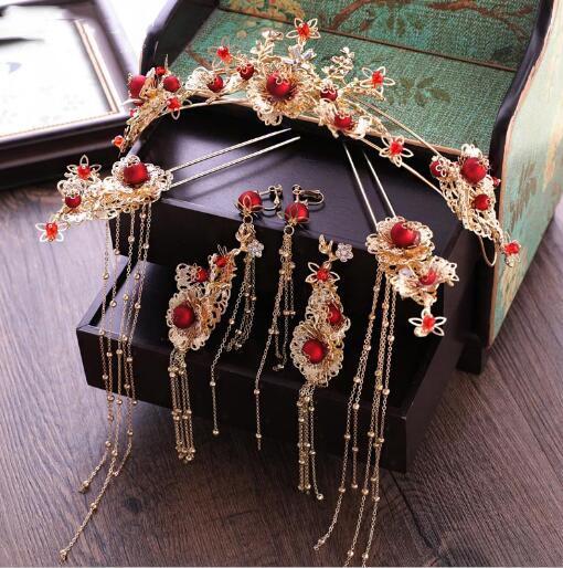 Spose, corone rosse cinesi, copricapo, orecchini, costume antico, nappa, abito Xiu, matrimonio, ornamenti di corona.