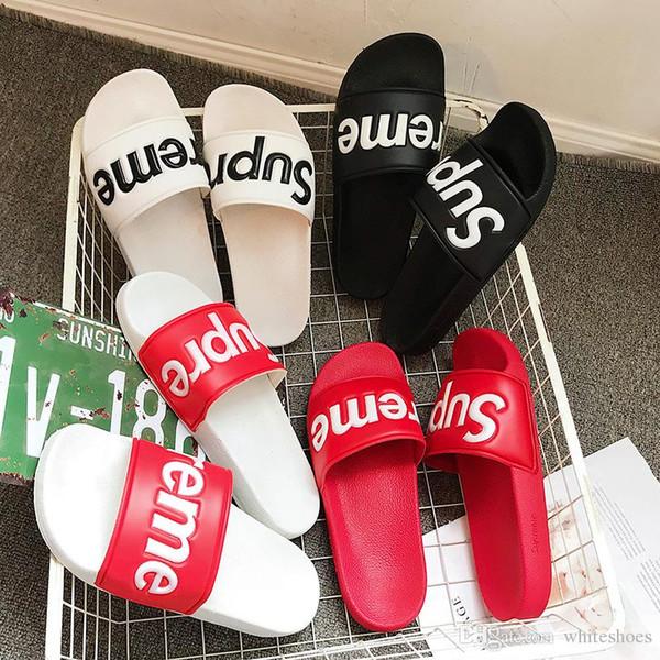 homefamilys / Hombres Mujeres Sandalias Zapatos de diseño Deslizamiento de lujo Moda de verano Ancho plano resbaladizo con sandalias gruesas Zapatilla Flip Flop c