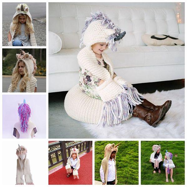 Unicorn Hooded Scarf Earflap Knitted hat warm children's hat animal unicorn shape scarf one-piece shawl tassel cap MMA924 60pcs