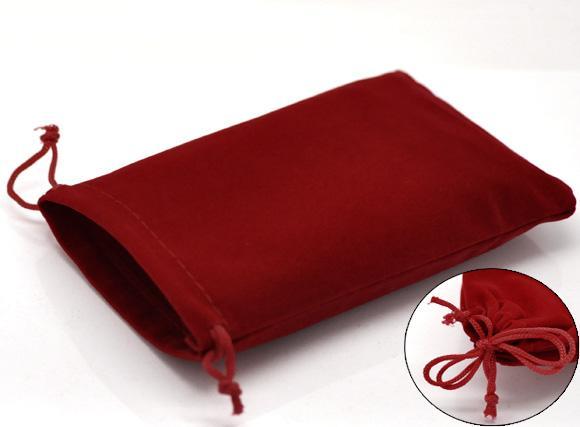DoreenBeads Бархатные бархатные сумки Rectangle Red 15 см x 10 см (5 7/8