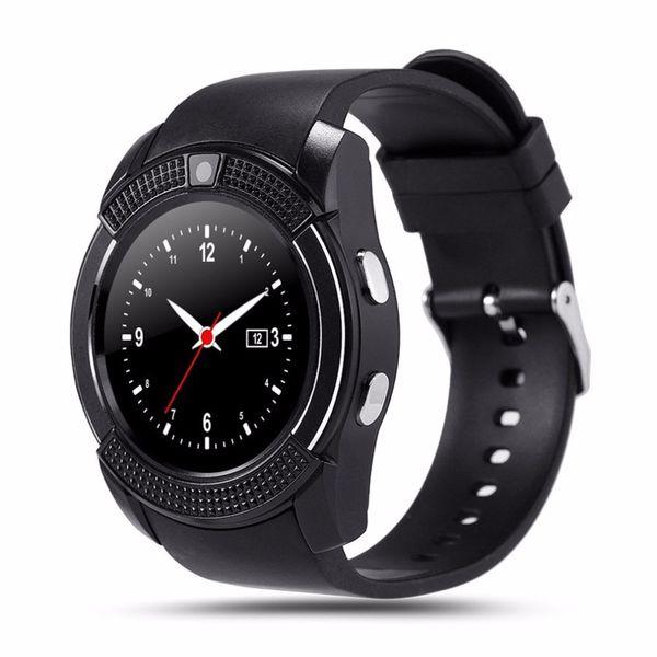 V8 Smart Wrist Watch Sleep Monitor Sports Pedometer Clock Watch Phone Support SIM TF Card 0.3MP Camera