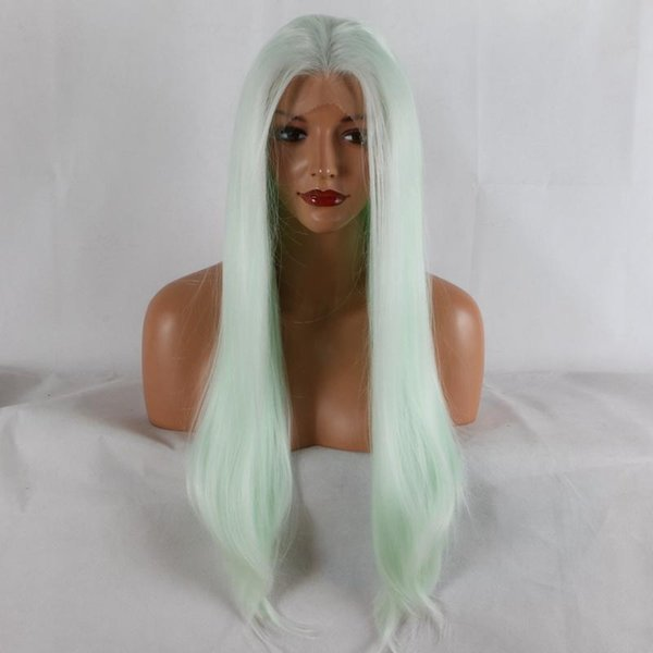 Lace Front Wigs Heat Resistant Fiber green blue color mix color Synthetic lace front wig women hair replacement wig half hand tied wig