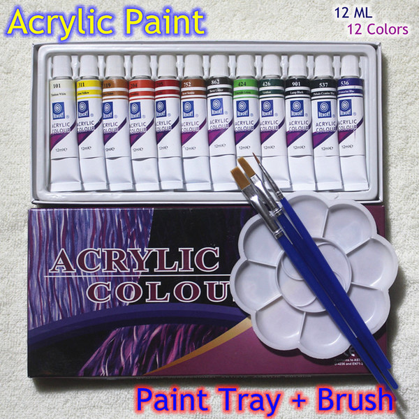 best selling Acrylic Paints Tube Set Nail Art Painting Drawing Tool For The Artists 12ml 12 Colors Free For Brush And Paint Tray