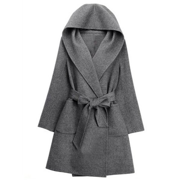Women Gray Loose Cardigan Pocket Female Coat Sashes Tie Long Hooded Outerwear Elegant Mid-Length Autumn Winter Belt Casual Coat