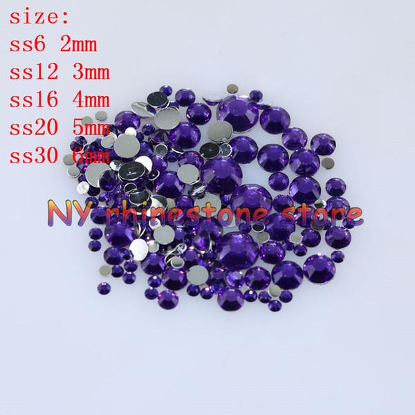top popular 1000-10000pcs bag 2-6mm Violet Resin Crystal Rhinestones FlatBack Super Glitter Nail Art Strass Wedding Decoration Applique Non HotFix 2021