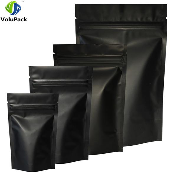 Haute Qualité 100 pcs Heat Seal Zip Lock Package Sacs Aluminium Feuille Mylar Tear Notch Matte Noir Stand Up Sac En Gros