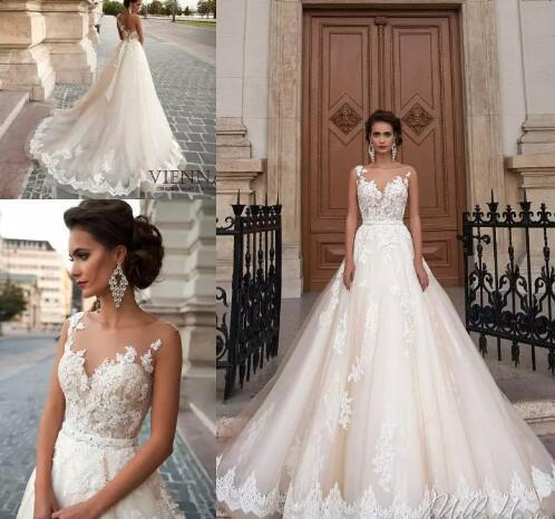 New Princes Sexy See Through Back Wedding Dresses 2018 Arabic Lace Appliques Vestios De Novia Bridal Gowns with Pearls Sash Tulle