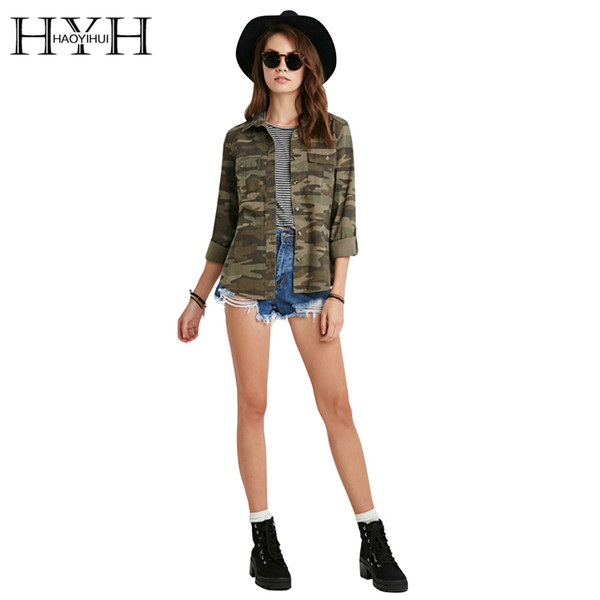 HYH HAOYIHUI 2017 Brand New Spring&Summer Casual Fashion Women Camouflage Jacket Sheath Disposition Outerwear Vogue Ladies Coat