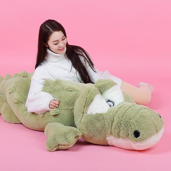 Dorimytrader Cute Soft Animal Crocodile Plush Pillow Doll Large Cartoon Alligator Toy Kids Play Doll Gift 160cm 200cm DY50114
