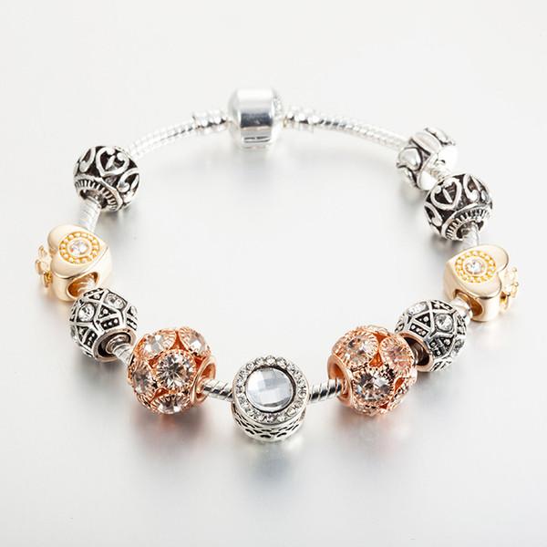 18k subiu banhado a ouro encantos do coração europeu pulseira de contas para pandora 925 cobra de prata pulseiras de cadeia para as mulheres por atacado