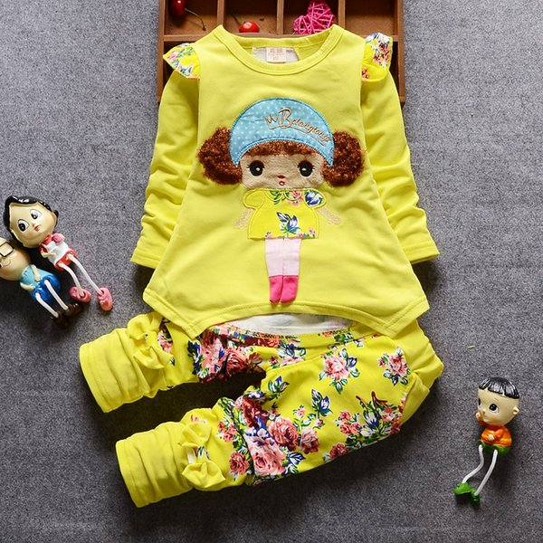 Baby Girl Clothes 2018 Korean Lovely Long Sleeved T-shirt Tops + Floral Pants Baby Girl Leisure Outfits Kids Bebes Jogging Suits