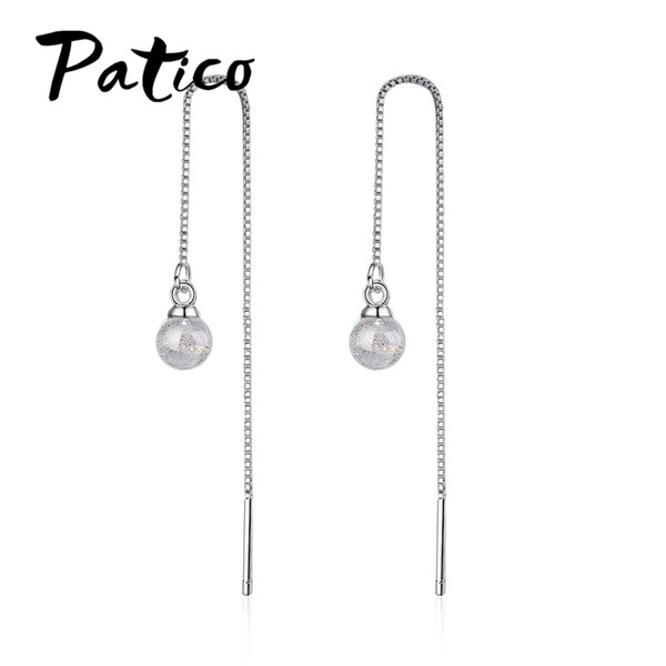PATICO New Arrival Fashion Simple Hook Earrings Cute Shiny Handmade 925 Sterling Silver Trendy Long Drop Earrings for Women