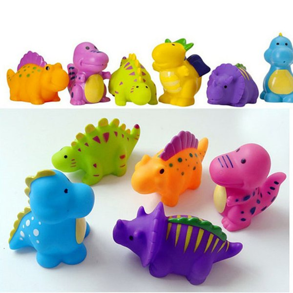 5PCS Lovely Dinosaur Animals Colorful Soft Rubber Float Bathing Toy For Baby