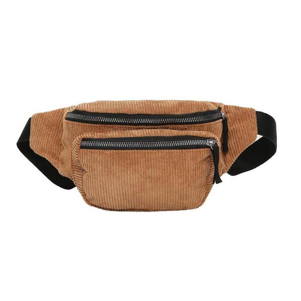Paquete de la cintura de pana de la vendimia mujeres niñas bolsa de la correa de moda bolsos de pecho Messenger bolsos de hombro Retro Paquete de la cintura del color puro
