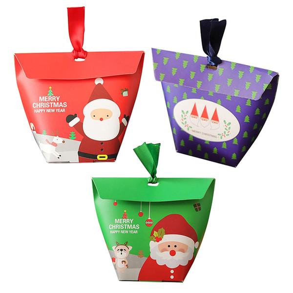 50Pcs/Lot Xmas Santa Claus Snowman Candy Bags Christmas Party Decoration Supplies 6*6*10cm Paper Gifts Box Z40